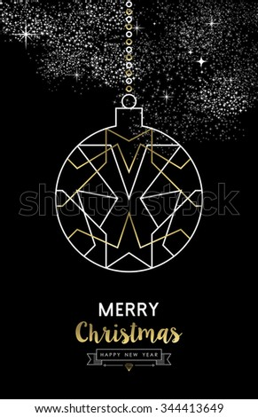 Merry Christmas Happy New Year elegant outline geometry style art deco bauble ball ornament in gold and white. Ideal for holiday greeting card, xmas poster or web. EPS10 vector. - stock vector