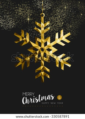 Merry christmas happy new year fancy gold winter snowflake shape in hipster origami style. Ideal for xmas card or elegant holiday party invitation. EPS10 vector. - stock vector