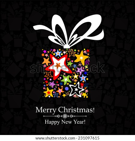 Merry Christmas! Happy new year! Gift box with ribbon. Vector Illustration  - stock vector