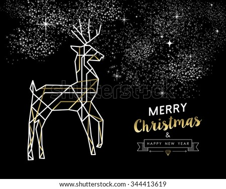 Merry Christmas Happy New Year gold and white deer in outline art deco style. Ideal for holiday greeting card, xmas poster or web. EPS10 vector.   