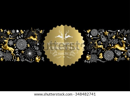 Merry Christmas Happy New Year gold label badge with low poly golden reindeer and holiday elements seamless pattern. Ideal for xmas greeting card, poster or web. EPS10 vector.    - stock vector