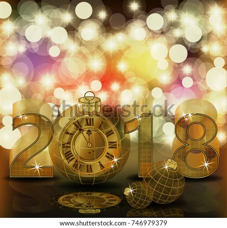 Merry Christmas & Happy New 2018 year golden clock, vector illustration