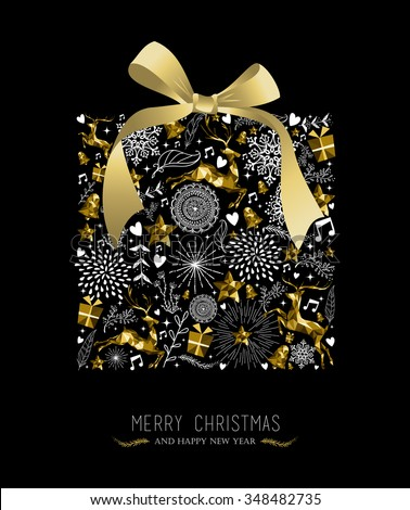 Merry Christmas Happy New Year greeting card design, holiday elements and reindeer in gold low poly style making gift shape silhouette. EPS10 vector. - stock vector