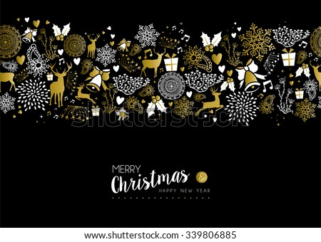 Merry christmas happy new year luxury gold seamless pattern on black background with deer, nature, and holiday elements. Ideal for fancy xmas greeting card design. EPS10 vector.       