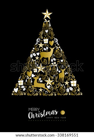 Merry christmas happy new year luxury golden pine tree shape on black background with deer and vintage elements. Ideal for xmas greeting card or elegant holiday party invitation. EPS10 vector. - stock vector