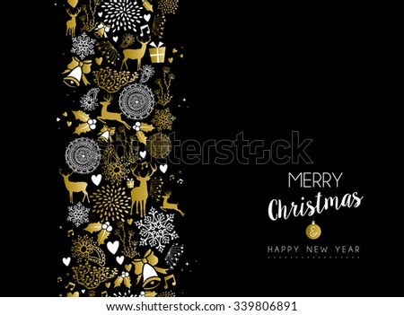 Merry christmas happy new year luxury golden seamless pattern on black background with deer and holiday elements. Ideal for elegant xmas greeting card. EPS10 vector. - stock vector