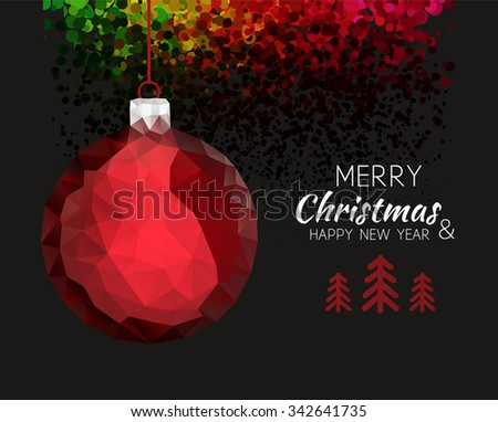 Merry christmas happy new year red ornament ball shape in hipster origami style. For xmas card or elegant holiday party invitation. Vector illustration - stock vector