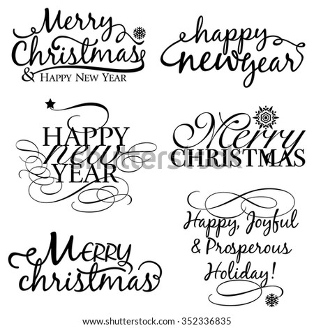 Merry Christmas & Happy New Year Set - stock vector