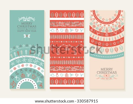 Merry christmas happy new year set of banners and seamless pattern with holiday doodle elements. Ideal for web, social media or xmas card design. EPS10 vector. - stock vector