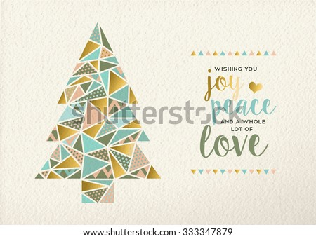 Merry christmas Happy new year triangle pine tree design in retro geometry style with gold and pastel color on texture background. Ideal for xmas greeting card or holiday event. EPS10 vector. - stock vector