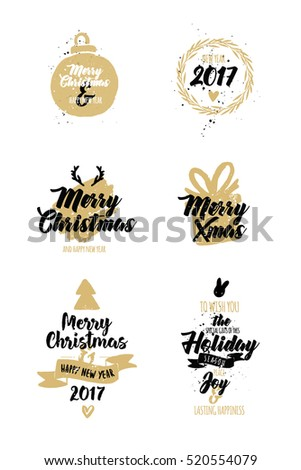 Merry Christmas. Happy New Year. Typography set. Vector logo, emblems, text design. Usable for banners, greeting cards, gifts etc. Vector elements