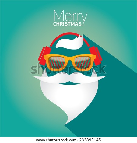 Merry Christmas hipster poster for party or greeting card on azure background. Vector illustration - stock vector