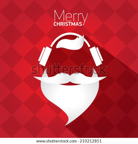 Merry Christmas hipster poster for party or greeting card on red background. Vector illustration - stock vector