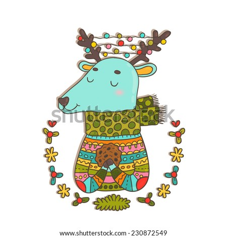 Merry Christmas holiday card with cute cartoon hand drawn deer and chocolate cookie. Funny deer in knitted sweater.