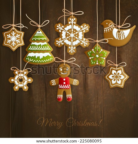 Merry christmas holiday decoration background with ginger man snowflakes and tree cookies vector illustration - stock vector