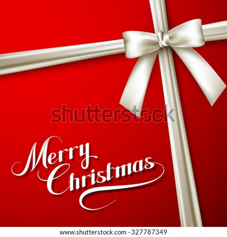 Merry Christmas. Holiday Vector Illustration. Lettering Composition On The Red Background With Ribbon And White Bow - stock vector