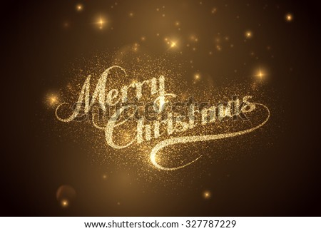 Merry Christmas. Holiday Vector Illustration. Shiny Lettering Composition With Stars And Sparkles - stock vector