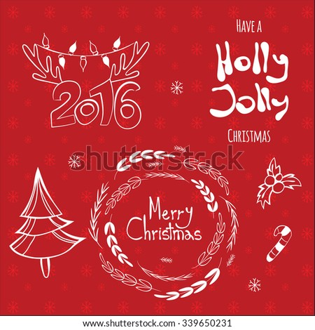 Merry Christmas, Holly Jolly, happy New 2016 Year! Calligraphic labels, letters elements. Set of graphic Christmas tags with wreath, deer horns pine tree and hand drawn letters - stock vector