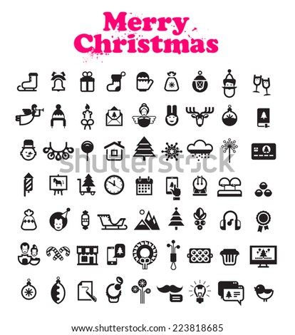 Merry Christmas icons - stock vector