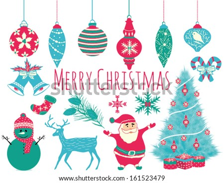 Merry Christmas Icons and Elements Set in Vector - stock vector