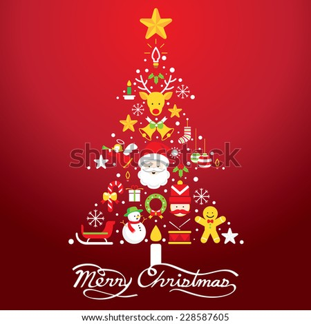 Merry Christmas, Icons in Christmas Tree Shape - stock vector