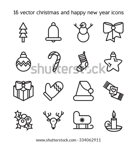 Merry Christmas Icons Set Happy New Stock Vector 334062911