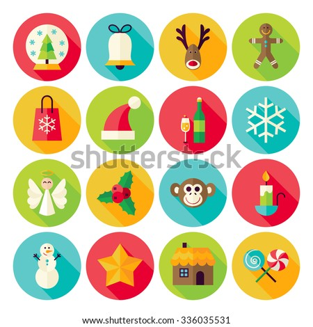 Merry Christmas Icons Set with long Shadow. Flat Design Vector Illustration. Winter Happy New Year Holiday. Collection of Circle Icons