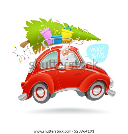Merry Christmas Illustration Modern Cartoon Character Santa Driving Red Retro Car With Tree And