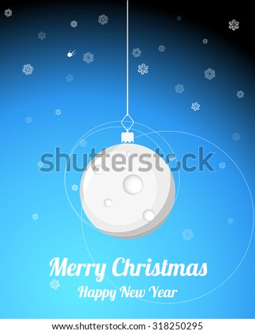 Merry Christmas illustration, moon baubles - stock vector