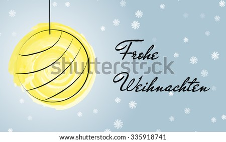 Merry christmas german language greetings card stock vector merry christmas in german language greetings card with gold ball drawn with watercolor brush m4hsunfo