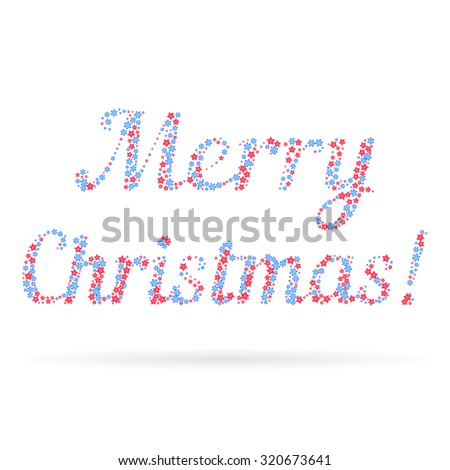 Merry Christmas in the form of snowflakes and stars over white background. Element for your greeting card, posters, and other holiday projects - stock vector