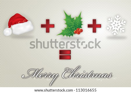 Merry Christmas in white background with santa hat, christmas flower, and snowflake, vector illustration - stock vector