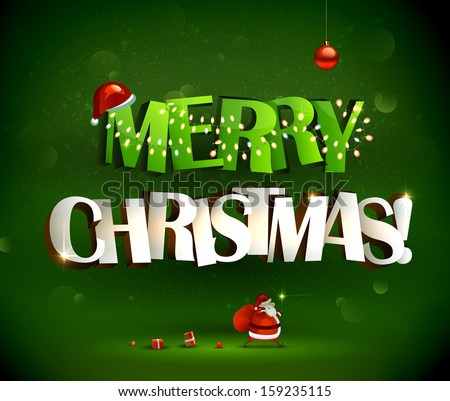 Merry Christmas inscription and Santa Claus with gifts - stock vector