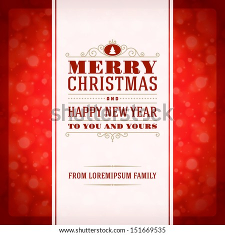 Merry Christmas invitation card ornament decoration background. Vector illustration Eps 10. Happy new year message. - stock vector