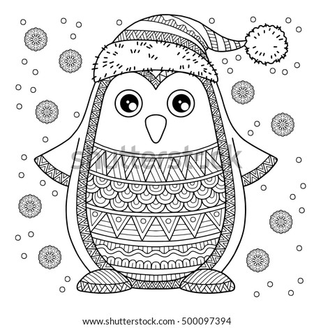 Merry christmas jolly penguin detailed coloring vectores for Penguin adult coloring pages