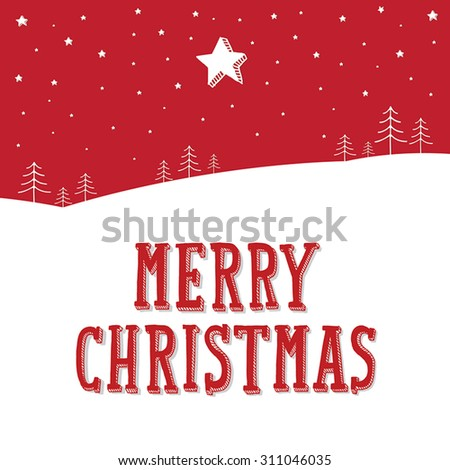 Merry Christmas landscape at night with stars on sky. Merry Christmas lettering, vector illustration. - stock vector