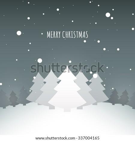 Merry Christmas landscape design vector stock eps10 illustration - stock vector