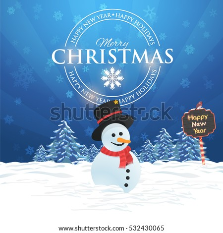 Merry Christmas Landscape, Winter Background Design, Snowflakes, Snowman, Pine Tree and Snow Illustration, Happy New Year 2017 Greeting Card Template
