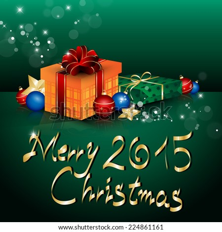 Merry Christmas Lettering And Background - Vector Illustration, Graphic Design Useful For Your Design