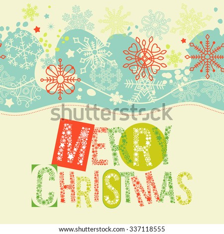 Merry Christmas lettering, Christmas card pattern - stock vector