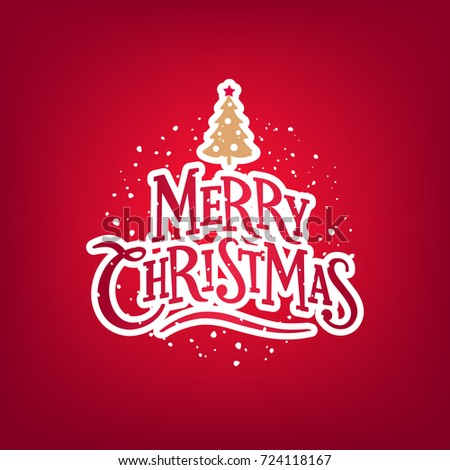 Merry Christmas Lettering. Christmas Greeting Card. Vector Illustration.