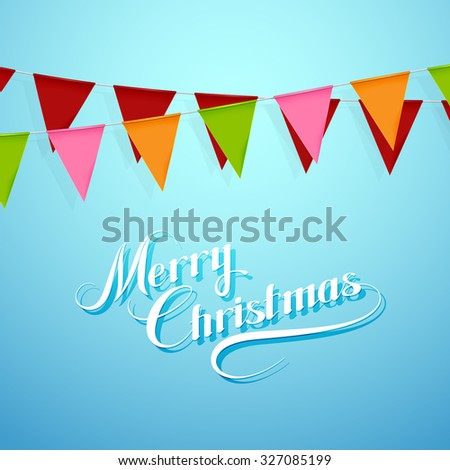 Merry Christmas Lettering Composition With Bunting Holiday Flags. Holiday Vector Illustration - stock vector