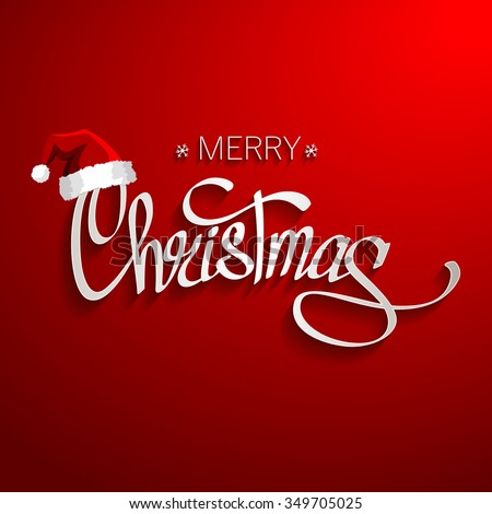 Merry Christmas Lettering Design - stock vector