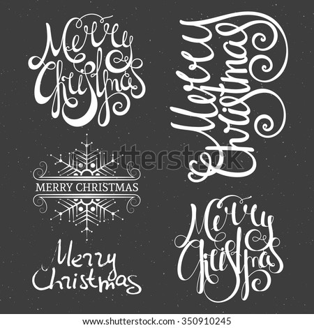 Merry Christmas lettering design set. Calligraphy handwriting design element for greeting card, banner, invitation, label, postcard, vignette and flyer. Vector illustration. - stock vector