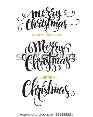 Merry Christmas Lettering Design Set. Vector illustration EPS10 - stock vector