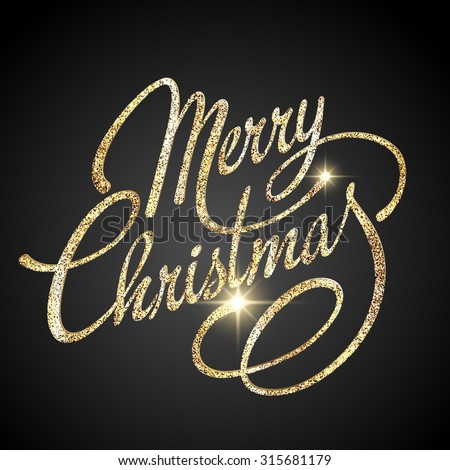 Merry Christmas Lettering Design. Vector illustration. EPS 10 - stock vector