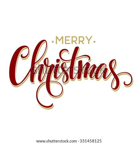 Merry Christmas Lettering Design. Vector illustration EPS10 - stock vector