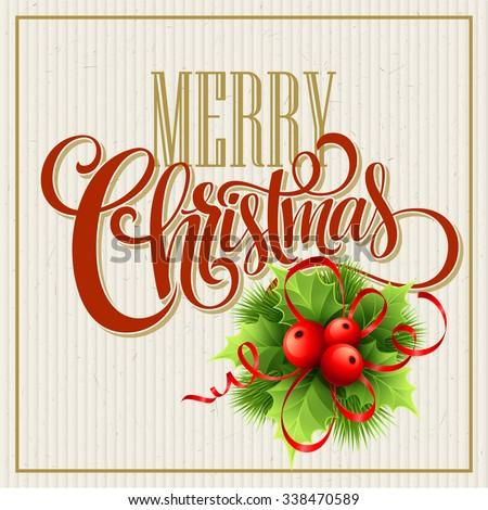 Merry Christmas Lettering Design. Vector illustration EPS10 - stock vector