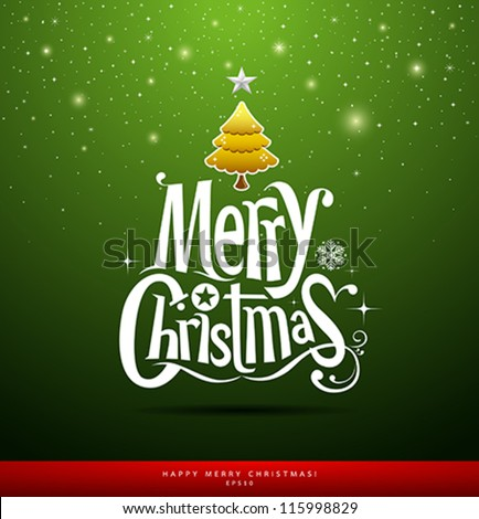 Merry Christmas lettering on green background, vector illustration - stock vector
