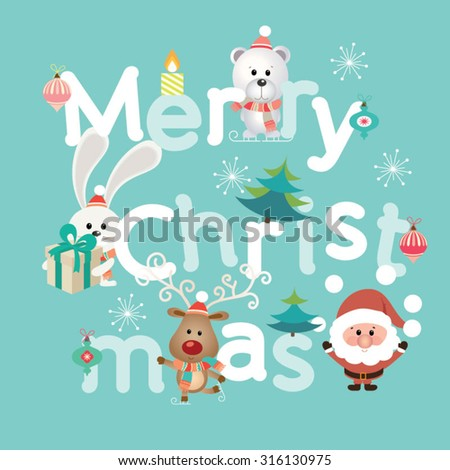 Merry Christmas Lettering. Vintage Christmas Background With Typography - stock vector